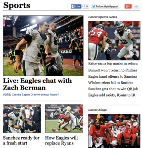 Philly.com offers its rabid fans game stories, live chats, features, columns, and other content that engages readers. Look to professional websites like this to borrow and steal ideas to improve your own coverage.