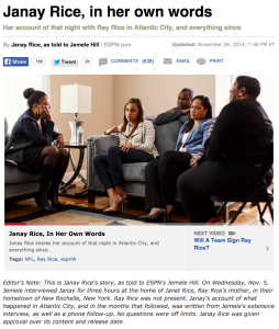 Jemele Hill interviewed Janay Rice for this essay that was published in ESPN's magazine and on its website.