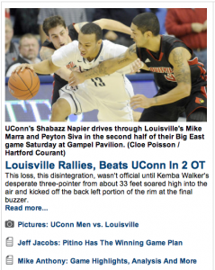 The Hartford Courant covered all angles of the game between U-Conn and Louisville.