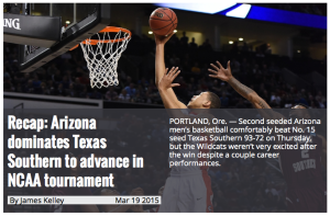 Arizona's Daily Wildcat offered significant coverage of its team's first-round game Thursday.