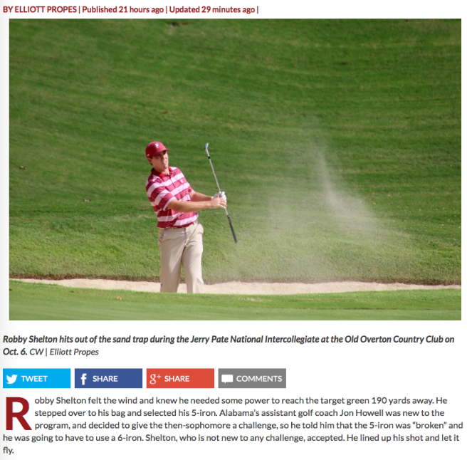 Check out this profile by Alabama's Crimson White on a top-ranked golfer.